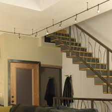 wall track lighting fixtures. Awesome Staircase With Wrought Iron Railing And Contemporary Track Lighting  Fixtures Plus Hanging Coat Rack Wall