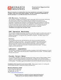 Foundry Worker Sample Resume Fresh Cnc Job Salary Resume Sample
