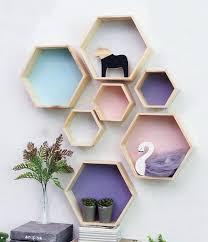 hexagon racks mounted floating shelves