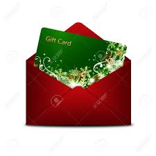 Christmas Gift Card In Red Envelope Isolated Over White
