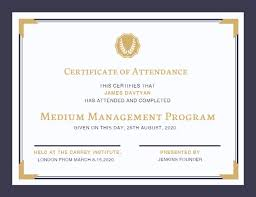 Online Certificate Of Attendance Certificate Template
