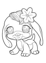Small Picture Little Pet Shop Cute Dog with Flower Coloring Pages Batch Coloring