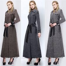 women s full length wool blend jacket slim warm trench parka military long coats