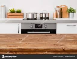 countertop background. Brown Wooden Table On Defocused Pastel Color Kitchen Interior Background \u2014 Photo By Didecs Countertop E