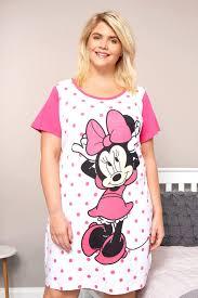 Plus Size White Pink Disney Minnie Mouse Nightdress Sizes 16 To