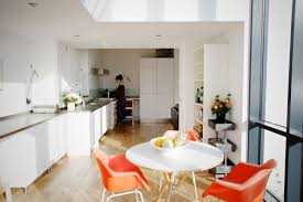 kitchen and dining room small cottage house design with white interior color decor round table with