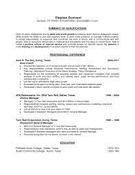 General Manager Resume Resumes Template Job Description Sample