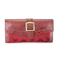 Coach Madison Embossed Buckle Large Red Wallets EEP