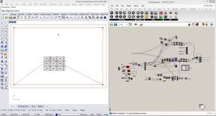 this screen shot shows the input pattern in the worke in rhino and the grhopper definition parsing those curves and turning them into stepper motor