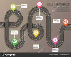 Infographics Template With Road Map Using Pointers Top View Vector