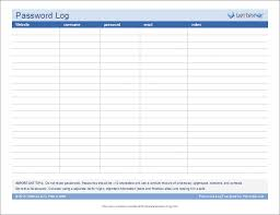 Password Log Template Excel Password Log Template