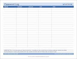 Password Log Password Log Template