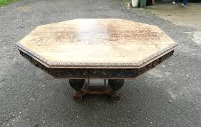 5ft diameter jacobean antique dining table round octagonal 5ft victorian carved oak centre dining table to seat 8 people