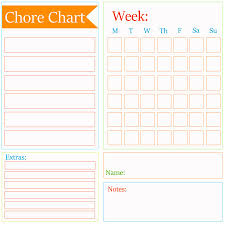 Chore Chart Checklist Template Kleinworth Co