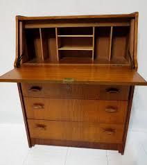 vintage mid century danish modern teak drop front desk secretary dresser bureau chest retro mod with