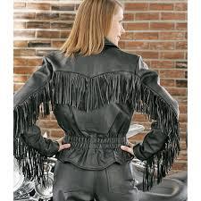women s universal rider leather fringe jacket black
