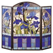 purple iris tiffany stained glass fireplace screen