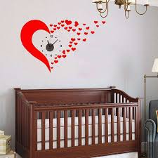 Small Picture Cute Red Heart DIY Wall Clock Sticker Art Wall Decals