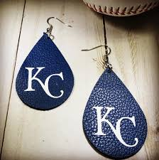 real leather baseball earrings kansas city earrings kc image 0