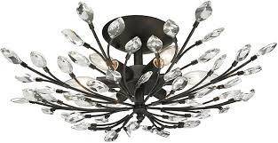 elk 11772 6 crystal branches burnt bronze flush mount lighting loading zoom
