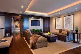 tray lighting ceiling. Inspiration For A Contemporary Dark Wood Floor Family Room Remodel In Chicago With Beige Walls And Tray Lighting Ceiling C