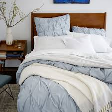 anic cotton pintuck duvet cover shams moonstone west elm