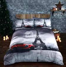 eiffel tower bedding sets tower and vintage car printed cotton 4 piece bedding sets eiffel tower