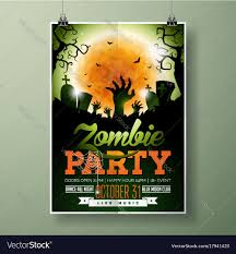 Green Party Flyer Halloween Zombie Party Flyer
