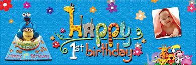 1st birthday banner 1st birthday banner cartoon animals flower theme