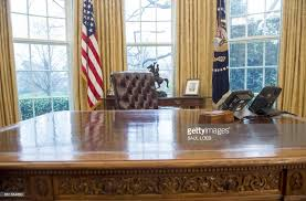 the oval office desk. us president donald trumpu0027s desk the resolute is seen in oval office h