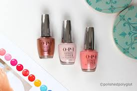 the twelve shades of this collection are available in three formulas regular opi nail polish with black cap the longlasting infinite shine formula with