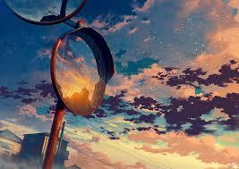 hd wallpaper anime sky mirror clouds