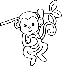 Small Picture Cartoon Animals Kids Monkey Coloring Page Wecoloringpage