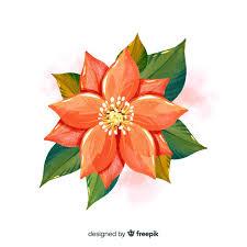 Widok Z Góry Akwarela Kwiat Z Liśćmi | Darmowy Wektor