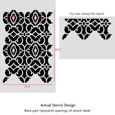 geometric allover pattern wall stencil emily for diy decor wallpaper look