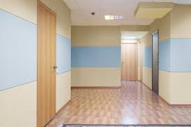 office hallway. Best Fabric Walls At Photo Of Commercial Office Hallway With Stretched Wall Finishing On The
