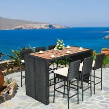 wicker patio bar stool dining table set