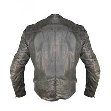 designer grey distressed leather motorcycle jacket for women and boys