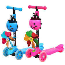 children kids scooter led light wheels ready stock