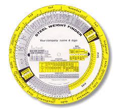 The Steel Weight Finder Chart Steel Slide Rule