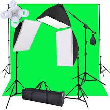 9 ft x 6 ft green background backdrop adjule background support boom stand 3 x studio soften light soft bo 8 x daylight bulbs light bulb