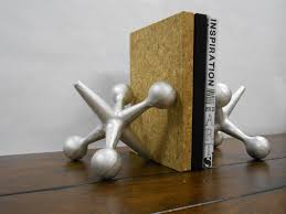 Modern Bookends Unique Fathers Day Gift - Large Cast Iron Jacks Mid Century  Modern Style Jax Paperweights Doorstop Book Ends Retro Modernist