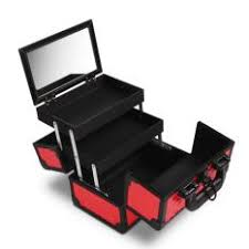 gladking philippines portable makeup train case small cosmetic organizer box with mirror and trays red