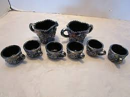 set 8 pc carnival iridescent amethyst art glass child s creamer sugar 6 cups