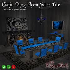 blue dining room set. Perfect Room Gothic Dining Room Set In Blue  Furniture For The And