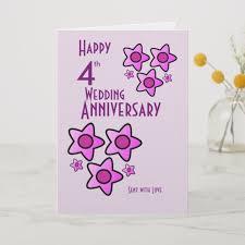 Pink Bold Flower Design 4th Wedding Anniversary Card Zazzle Com