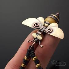 honey bee pendant whimsical bug necklace handmade artisan jewelry
