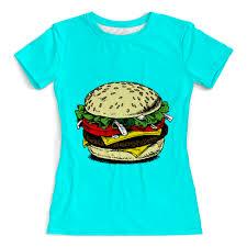 Футболка с полной запечаткой (женская) Большой гамбургер ...