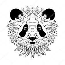 эскизы татуировок панда Zentangle богато Panda эскиз татуировки