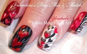 5 Valentine Nail Art Designs   Red Hearts & Zebra Print Nails ...